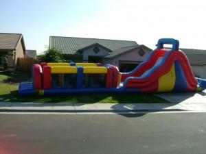 Large Inflatable Rental Setup for Homeowner